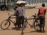 alles wird mit dem Fahrrad transportiert